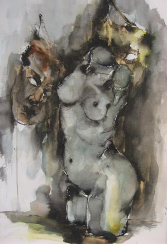 Torso met maskers inkt aquarel serie Metamorphosen 100x70cm prijs op aanvraag