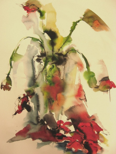 Klaprozen I aquarel en inkt 100x70cm prijs op aanvraag