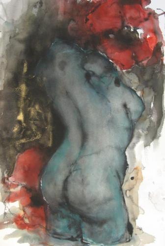 Torso met klaprozen inkt aquarel serie Metamorphosen 100x70cm prijs op aanvraag