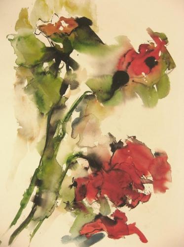 Klaprozen III aquarel en inkt 100x70cm prijs op aanvraag